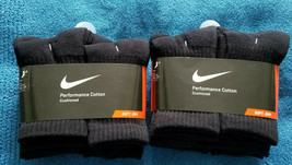 12 Pairs Nike Big Kids Cotton Cushioned Crew Socks, Black Color, Sz.S 13... - $39.99