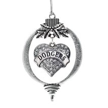 Inspired Silver Dodgers Pave Heart Holiday Ornament - $14.69
