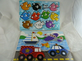 """Wooden Puzzles Melissa & Doug Lot of 2 for toddlers 9"""" X 12"""" size board ... - $14.84"""