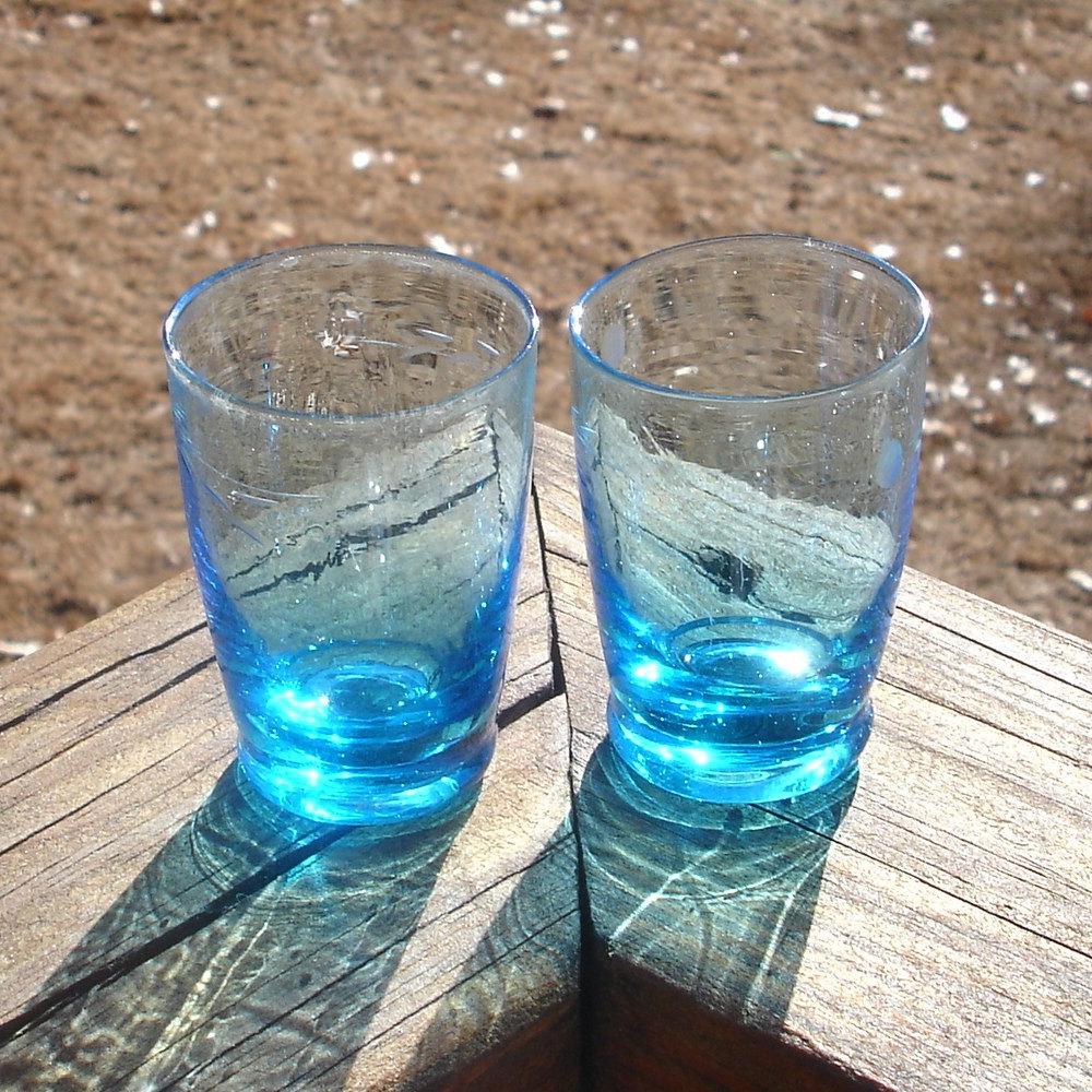Vintage Blue Shot Glasses, Hand blown, Etched
