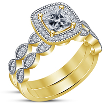 Cushion Cut CZ 18k Gold Over Solid 925 Silver Women's Bridal Engagement ... - $89.99