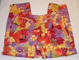 Talbots Petites Stretch 6 Bright Colorful Capri Cropped Pants Slimming Side Zip - $19.45