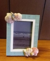 Seashell Picture Frame in Blue and White with Beach Photo- New  - $10.00