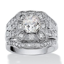 Cushion Cut CZ Women's Bridal Wedding Ring Set 14k White Gold Plated 925 Silver - $95.11
