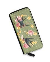 Liquor Brand Sparrows Green Birds Flowers Punk Zip Clutch Wallet LB-WAL-... - $32.84