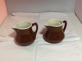 Vintage Hall USA Mini Tankard Pitchers Creamers Brown/White Restaurant Ware - $19.99