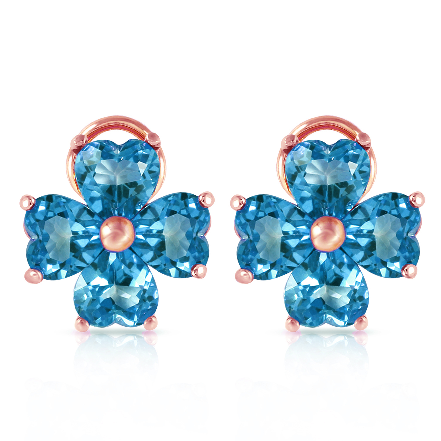 Primary image for 7.6 Carat 14K Solid Rose Gold Heart Cluster Blue Topaz Earrings Womens Gemstone