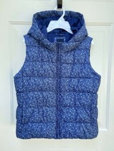 NWOT GAP Kids Girls Primaloft Blue Floral Puffer Vest XXL 14 16 Warm  w/... - $21.77