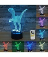 Dinosaur Light Optical Illusion 3D Lamp Nightlight Accent Lamp 7 Color C... - $29.65
