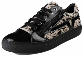 Versace Collection Black Pony Hair Patent Leather Lace Zip-Up Fashion Sneaker NW image 1