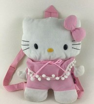 "Hello Kitty Backpack 13"" Pouch Purse Zippered Pocket Carry Plush Toy Sanrio  - $29.65"