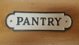 Vintage Aged Victorian Black White CAST IRON Sign Pantry Plaque - £11.36 GBP