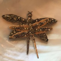 Estate Antique Goldtone Two DRAGONFLY with Bronze Bead Accents Pin Brooc... - $13.99