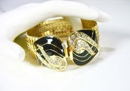 WHITING & DAVIS, Mesh Rhinestone Bracelet, 1970's, Gold Tone, Black, Sop... - $36.00