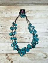 Paparazzi Brand New Blue Circle Design Necklace and Earring Set - New - $5.99