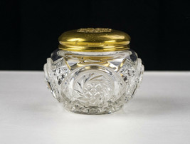 Fostoria Virginia Dresser Jar Repousse Brass Lid, Antique EAPG Trinket Puff Box - $80.69