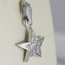 Pendentif en or Blanc 750 18K ,Pendentif Étoile,avec Zircon, Long 2.4 CM image 2