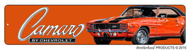 1969 Orange Black Stripes Chevrolet Camaro Rally-Sport Z-28 Aluminum Street Sign - $17.77