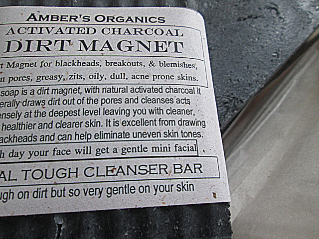 """Organic Activated Charcoal """" Dirt Magnet"""" Cleanser bar."""