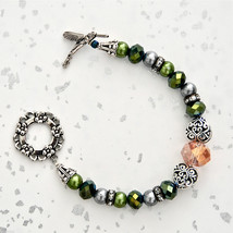 Hummingbird Bracelet Pearl Green Pink Toggle Clasp Heart Swarovski NEW - $24.95
