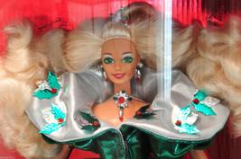 RARE Happy Holidays 1995 Blonde Barbie Doll Minty Sealed Box Green Holly - $25.00