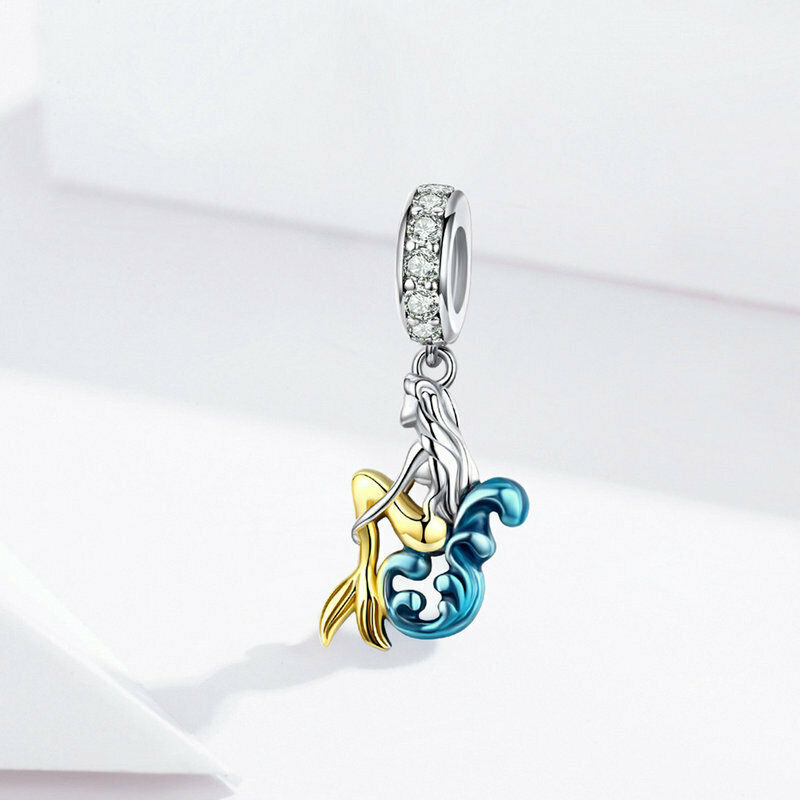 Mermaid Silver Charm Genuine 925 Sterling Silver Pendant Fits Pandora Bracelet image 4