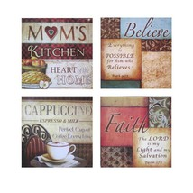 Urbanest Italian Bistro Framed Kitchen Home Wall Plaque Decor,Set of 4, ... - $15.99