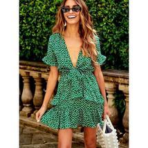 Women's Green and White Floral Deep V Neck Mini Sundress image 5