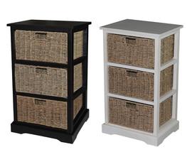 Urbanest Solid Wood Monroe Accent Cabinet Storage w/ 3 Seagrass Baskets ... - $149.99