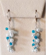 Blue Swarovski Crystal Cluster Earrings  - $10.99