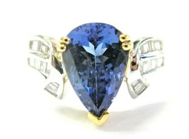 18Kt Natural Pear Shape Tanzanite & Diamond 2-Tone Ring 3.27Ct - $2,334.66