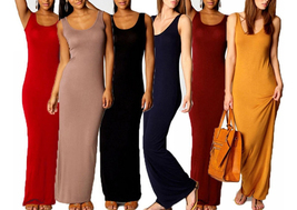 Women's Sleeveless Solid Vest Tank Long Maxi Dresses  - $19.99