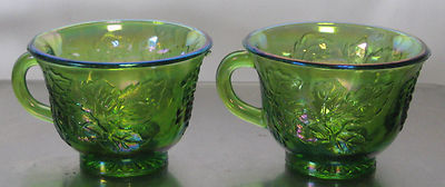 2 VINTAGE INDIANA GLASS CARNIVAL GREEN  *HARVEST GRAPE* PUNCH CUPS