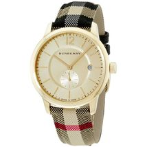 Burberry Women Watch Gold Dial Textile Multi Color Fabric Starp Ladies B... - $218.97 CAD