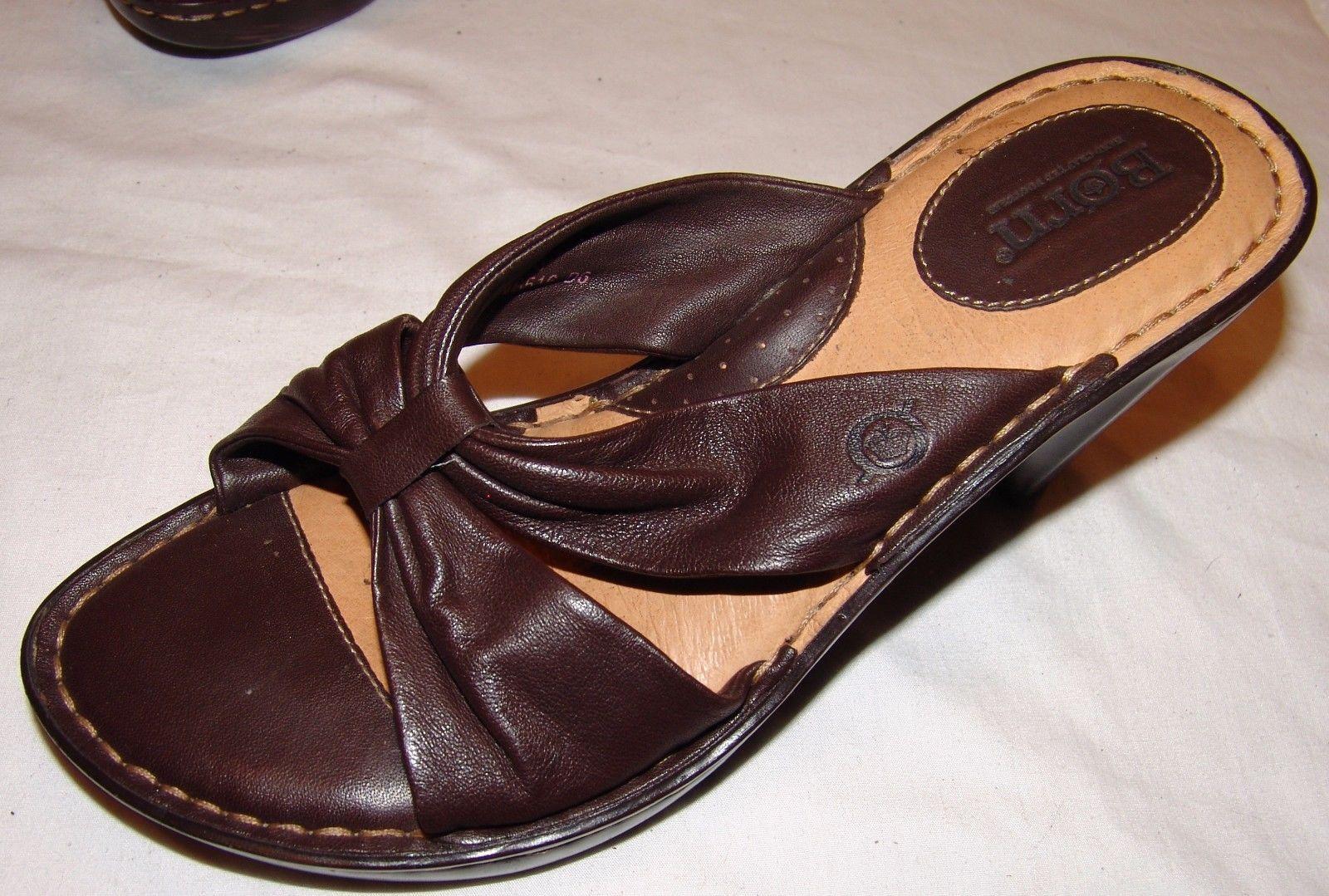 Born Cuero Marrón Tacones 7 Mujer sin Cordones Sandalias Peep-Toe
