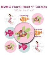 M2MG Floral Reef Surfer Girl Bottle Cap Images 1 Inch Circles Sea Turtle... - $2.00