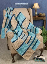 W678 Crochet PATTERN ONLY Color Block Textured Throw Afghan Pattern - $7.50