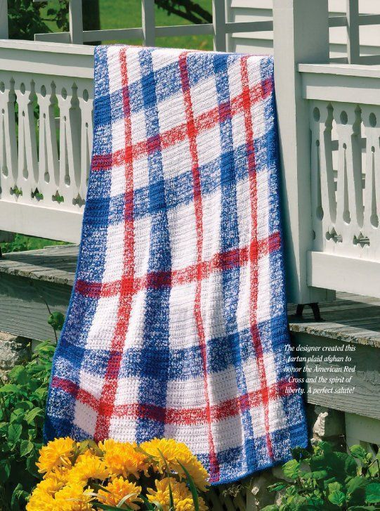 Primary image for W684 Crochet PATTERN ONLY Liberty Tartan Afghan Throw Pattern Patriotic Colors