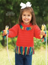 W661 Crochet PATTERN ONLY Fringe Benefit Kid's Pullover Sweater Pattern - $7.50