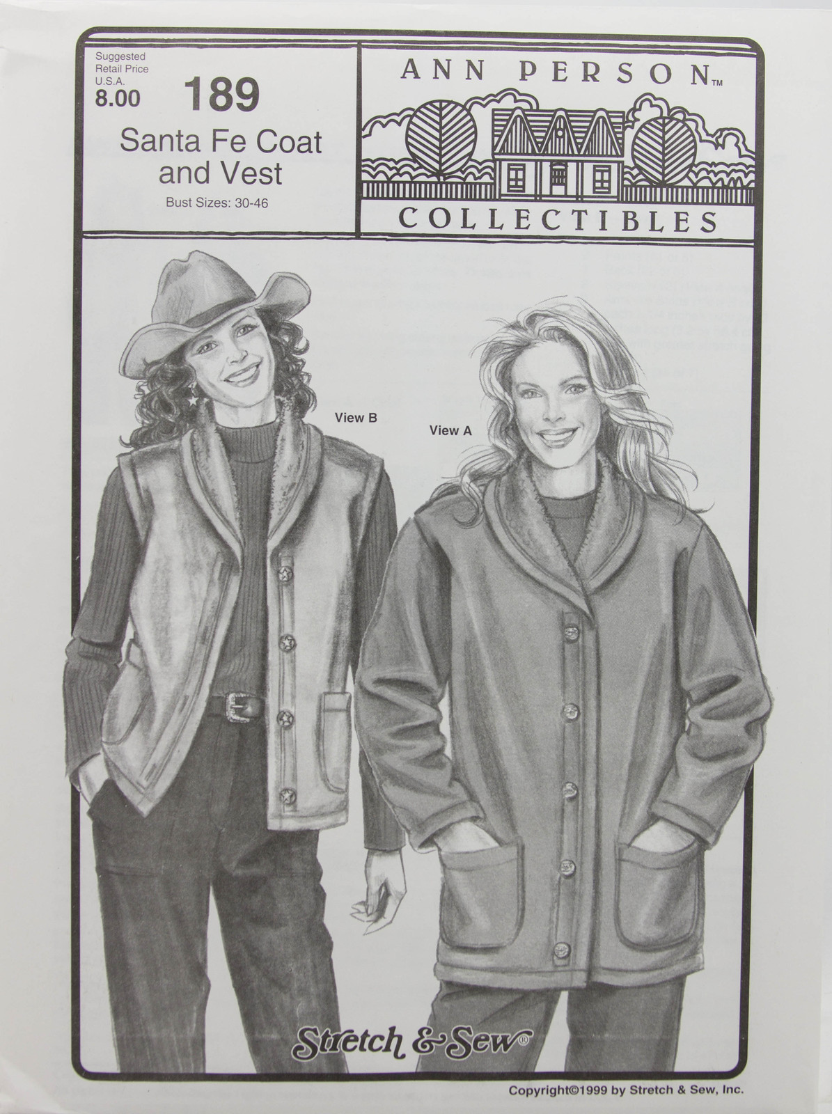 Stretch & Sew Sewing Pattern - Ann Person Collectibles - #189 Santa Fe Coat & Ve