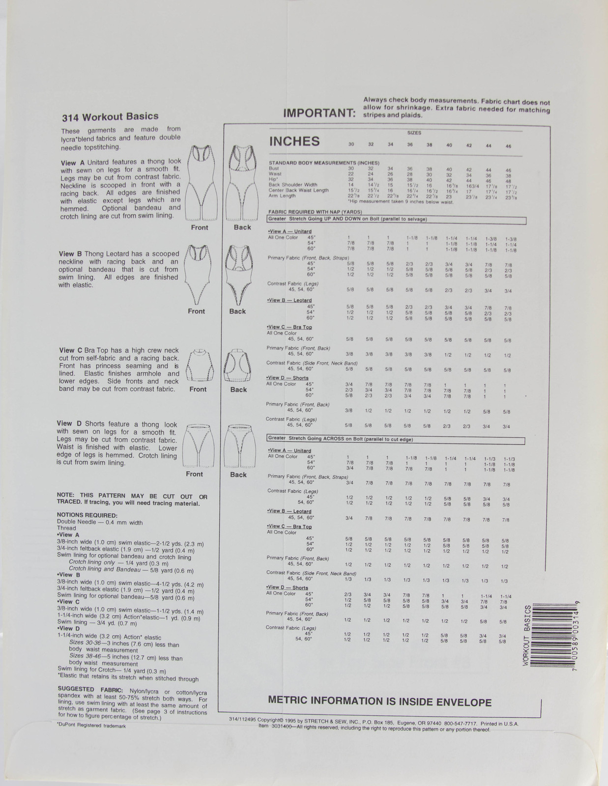 Stretch & Sew Sewing Pattern- Ann Person Collectibles #314 - Workout Basics