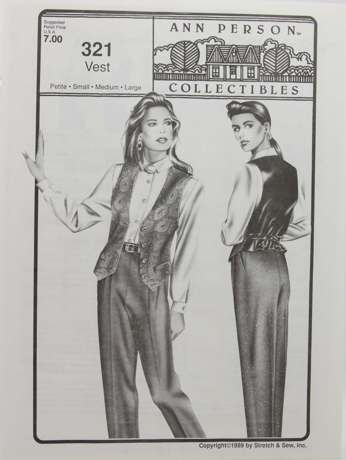 Stretch & Sew Sewing Pattern- Ann Person Collectibles #321 - Vest