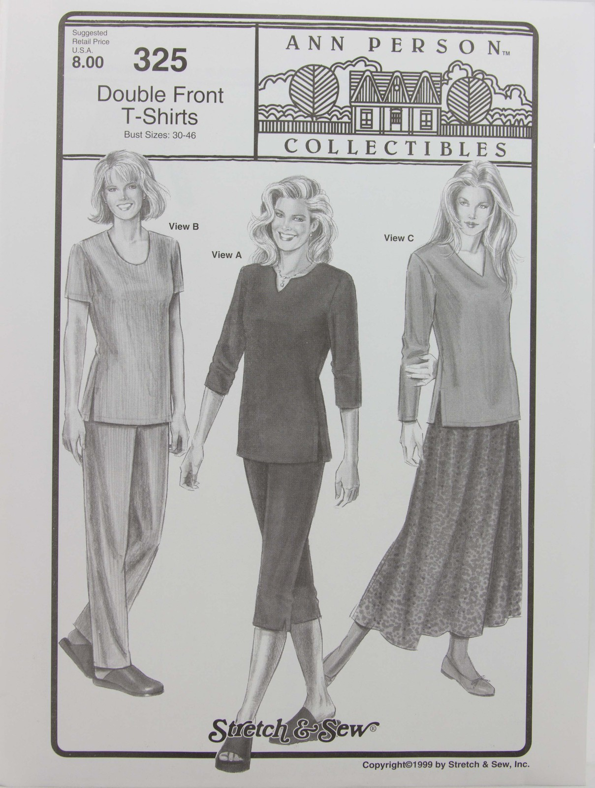 Stretch & Sew Sewing Pattern Ann Person Collectibles #325  Double Front T-Shirts