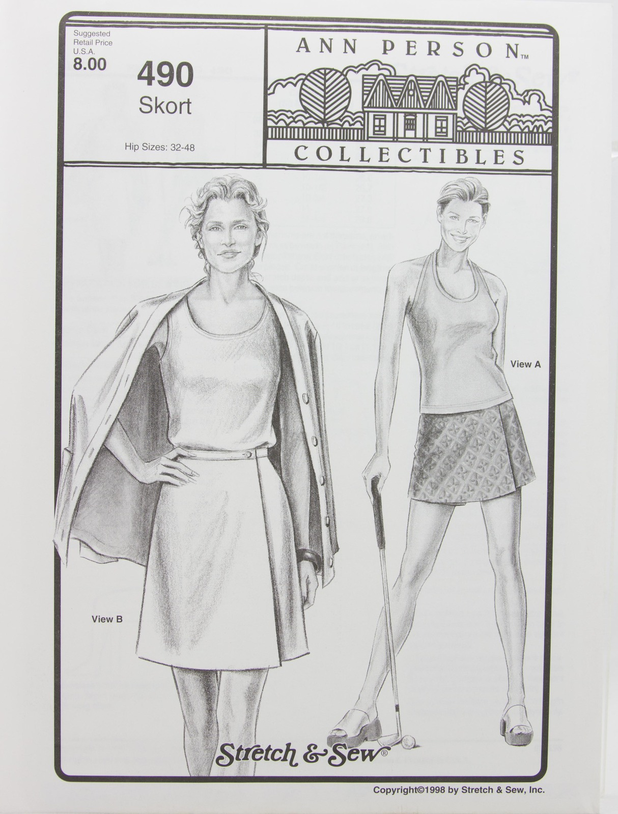 Stretch & Sew Sewing Pattern- Ann Person Collectibles #490 - Skort