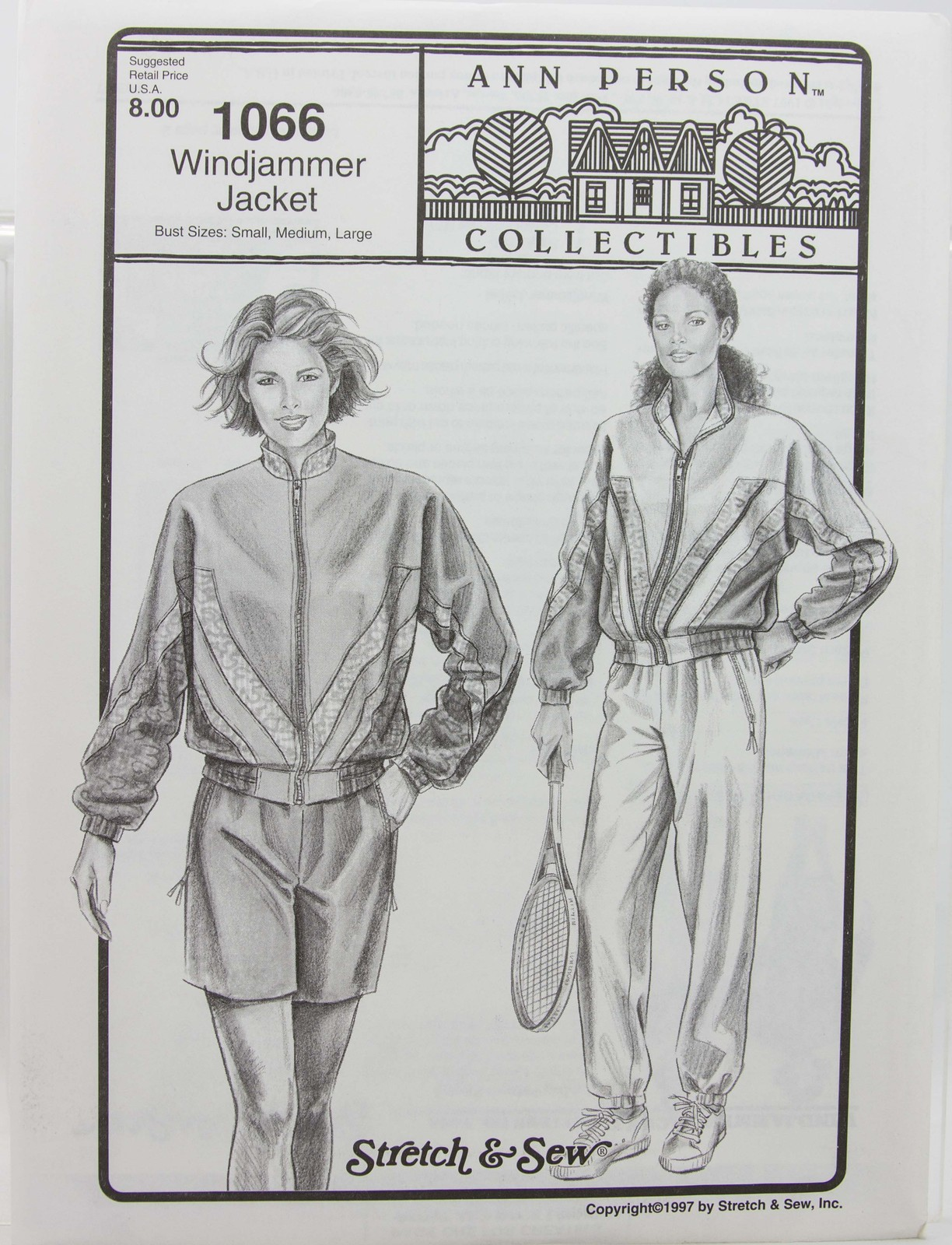 Stretch & Sew Sewing Pattern- Ann Person Collectibles #1066 -Windjammer Jacket