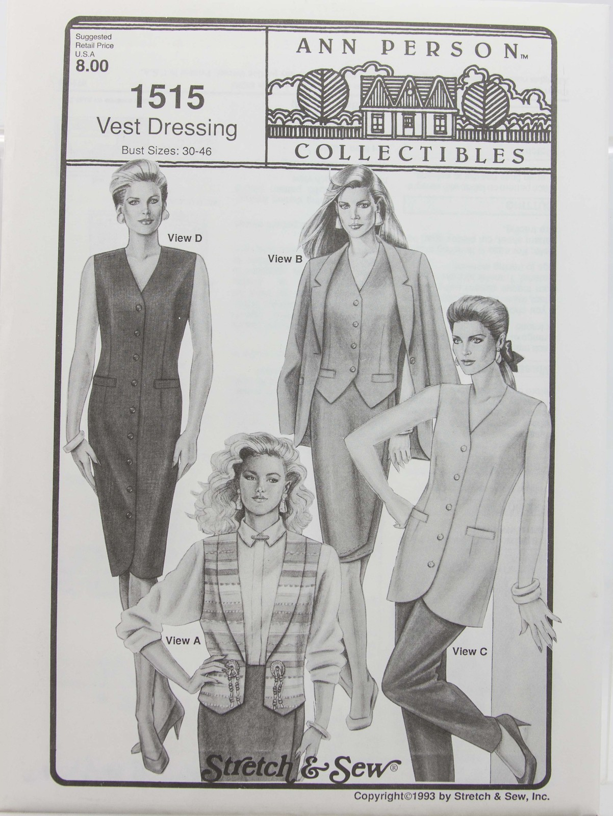 Stretch & Sew Sewing Pattern- Ann Person Collectibles #1515 - Vest Dressing