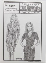 Stretch & Sew Sewing Pattern - Ann Person #1592 -Surplice Wrap Dress and... - $11.50