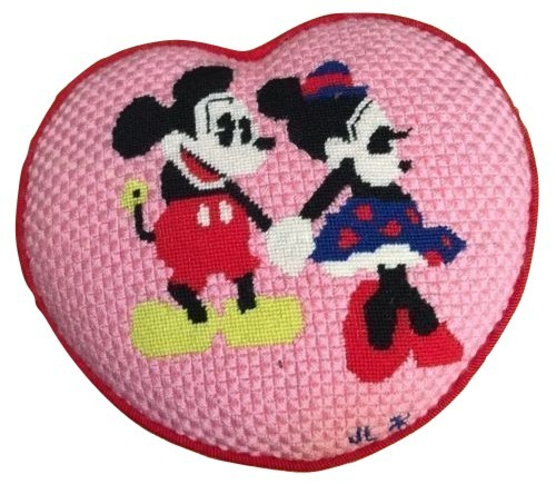 """VTG 1970 Mickey Minnie Mouse Pink Red Needlepoint Heart Love Cushion Pillow 10"""" - $99.99"""