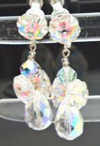 VTG VENDOME Silver Tone Clear AB Rivoli Flower Rhinestone Dangle Earrings image 5