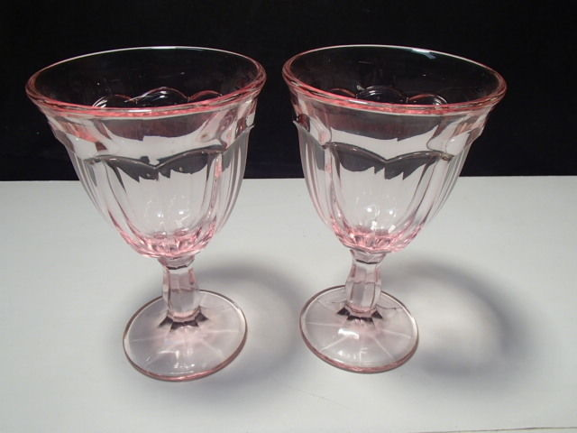 Primary image for 2 HEISEY WILLIAMSBURG PINK GOBLETS